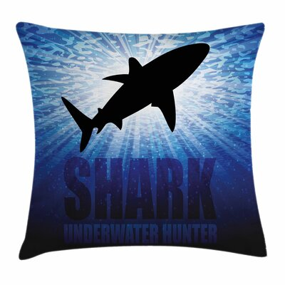 Shark Underwater Hunter Danger Square Pillow Cover Size: 24 x 24