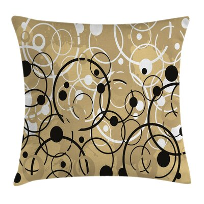 Funky Grungy Retro Artsy Square Pillow Cover Size: 18 x 18