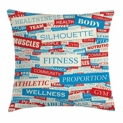Fitness Words Bodycare Collage Square Pillow Cover Size: 16 x 16
