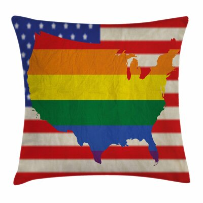USA Flag Gay Rights Square Pillow Cover Size: 16 x 16