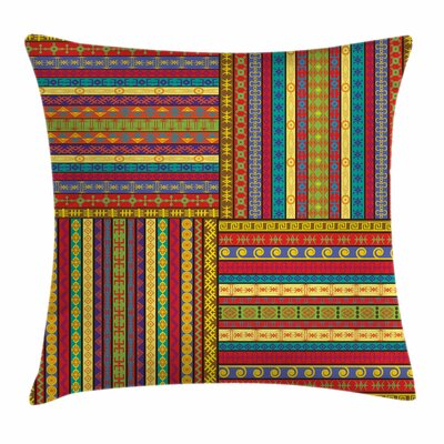 African Ancient Artful Borders Square Pillow Cover Size: 18 x 18