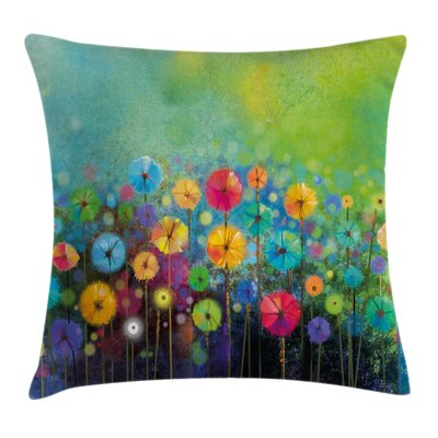 Floral Colorful Dandelions Square Pillow Cover Size: 18 x 18