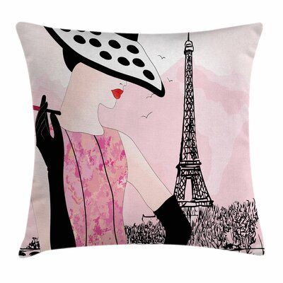 Teen Room Decor Woman Eiffel Square Pillow Cover Size: 24 x 24
