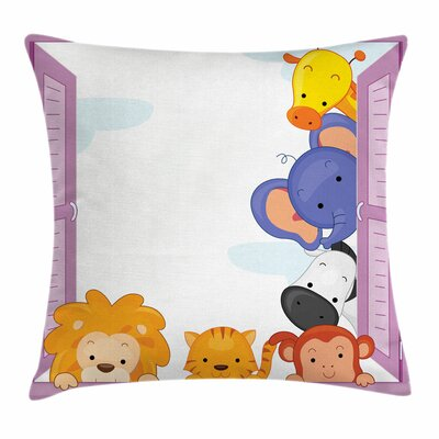 Zoo Cute Animals Peeping Window Square Pillow Cover Size: 18 x 18