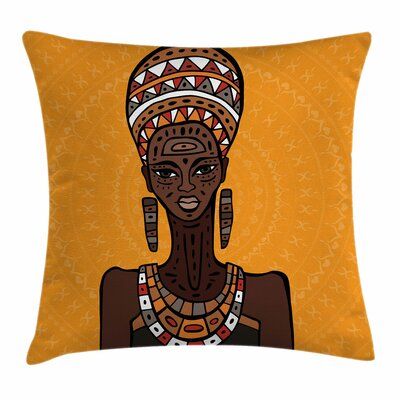 African Woman Long Neck Folk Square Pillow Cover Size: 16 x 16