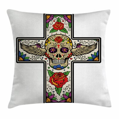 Sugar Skull Cross Wings Floral Square Pillow Cover Size: 18 x 18