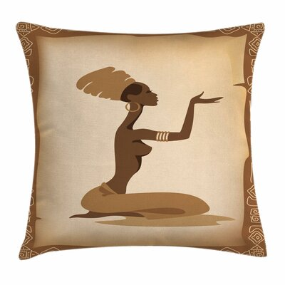 African Woman Lady Hand Gesture Square Pillow Cover Size: 20 x 20