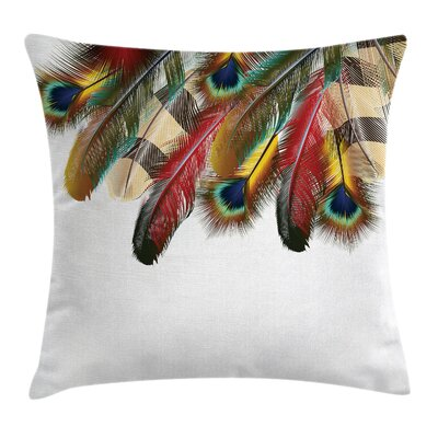 Fabric Case Peacock Feathers Boho Square Pillow Cover Size: 16 x 16