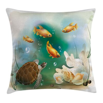 Artistic Aquarium Animals Square Pillow Cover Size: 18 x 18