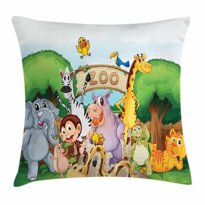 Zoo Playful Outdoors Animals Square Pillow Cover Size: 18 x 18