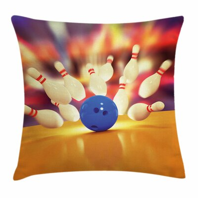 Bowling Party Moment of Crash Square Pillow Cover Size: 20 x 20