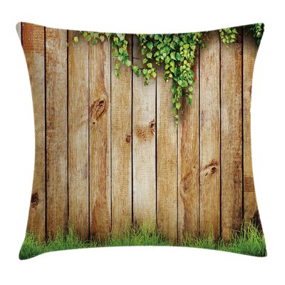 Rustic Wooden Garden Fence Square Pillow Cover Size: 16 x 16