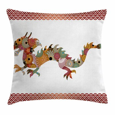 Dragon Floral Ornate Folk Body Square Pillow Cover Size: 16 x 16