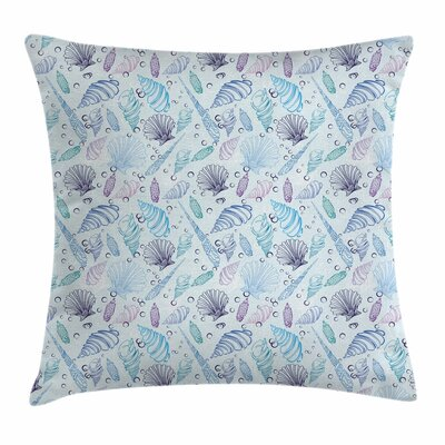 Nautical Seashells Bubble Ocean Square Pillow Cover Size: 16 x 16