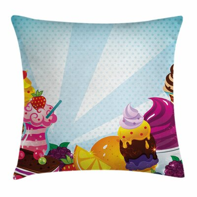 Ice Cream Yummy Flavors Square Pillow Cover Size: 18 x 18