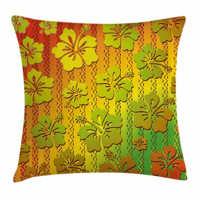Rasta Jamaican Island Flower Square Pillow Cover Size: 16 x 16