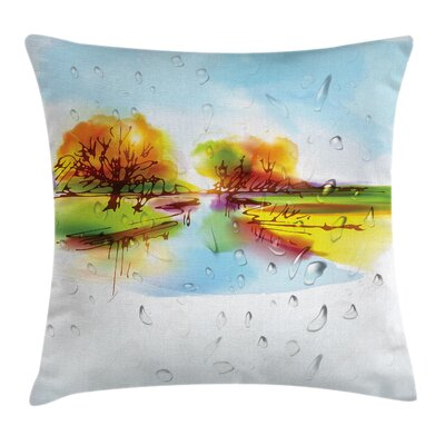 Fall Decor Lake Trees Pastoral Square Pillow Cover Size: 16 x 16