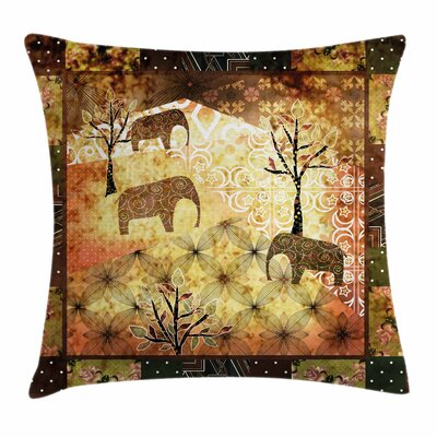 African Grunge Elephants Roses Square Pillow Cover Size: 18 x 18