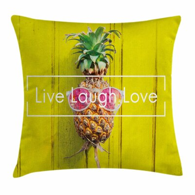 Live Laugh Love Hipster Fruit Square Pillow Cover Size: 16 x 16