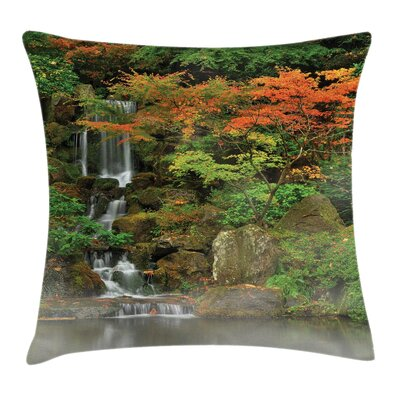 Waterfall Nature Foggy Morning Square Pillow Cover Size: 16 x 16