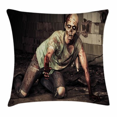 Zombie Decor Scary Bloody Man Square Pillow Cover Size: 18 x 18