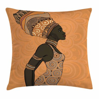 African Woman Indigenous People Square Pillow Cover Size: 18 x 18