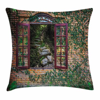 Country House Forest Wall Square Pillow Cover Size: 24 x 24