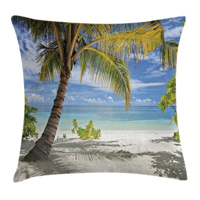 Tropical Palm Trees Coastline Square Pillow Cover Size: 16 x 16