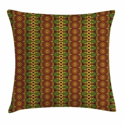 African Abstract Tribal Motifs Square Pillow Cover Size: 18 x 18