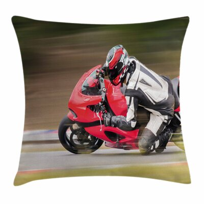 Teen Room Decor Bike Race Speed Square Pillow Cover Size: 16 x 16