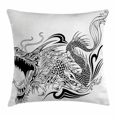 Dragon Asia Creature Ethnic Art Square Pillow Cover Size: 18 x 18