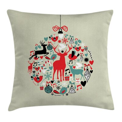 Christmas Decorative Ball Square Pillow Cover Size: 18 x 18