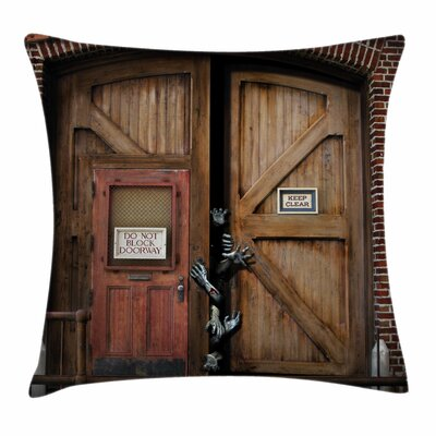Zombie Decor Monster Wood Door Square Pillow Cover Size: 18 x 18
