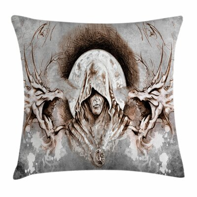 Dragon Monk Branches Medieval Square Pillow Cover Size: 16 x 16