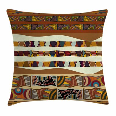 Tribal Boho African Folk Icons Square Pillow Cover Size: 18 x 18
