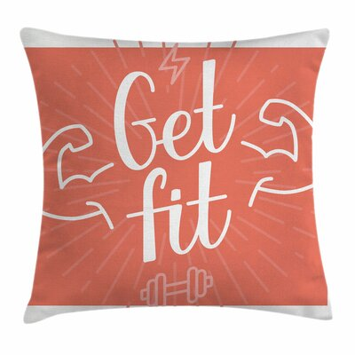 Fitness Bodybuilder Arms Biceps Square Pillow Cover Size: 18 x 18
