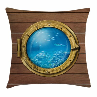 Shark Submarine Chamber Window Square Pillow Cover Size: 18 x 18