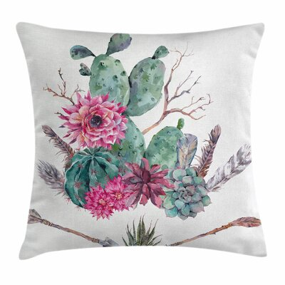 Cactus Exotic Bouquet Square Pillow Cover Size: 16 x 16