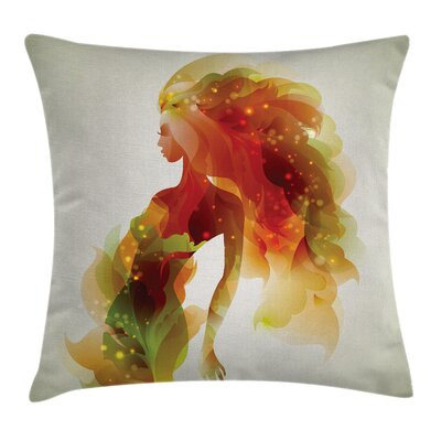 Modern Girl Abstract Lady Square Pillow Cover Size: 18 x 18