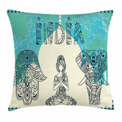 Yoga Elephant Hamsa Taj Mahal Square Pillow Cover Size: 16 x 16