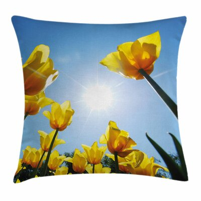 Tulip Field Summer Sky Blooms Square Pillow Cover Size: 16 x 16