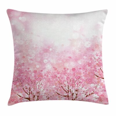 Japanese Sakura Tree Square Pillow Cover Size: 16 x 16