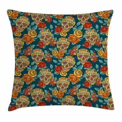 Sugar Skull Diamond Eyes Roses Square Pillow Cover Size: 24 x 24