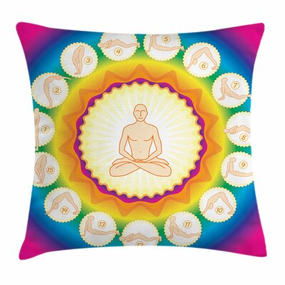 Yoga Yogi Lotus Posture Poses Square Pillow Cover Size: 18 x 18