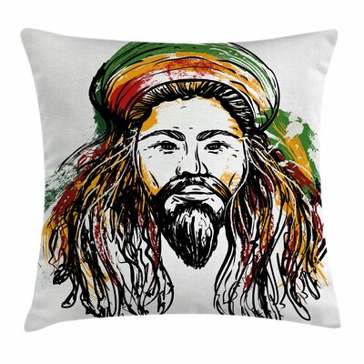 Rasta Rasta man Sketch Portrait Square Pillow Cover Size: 16 x 16