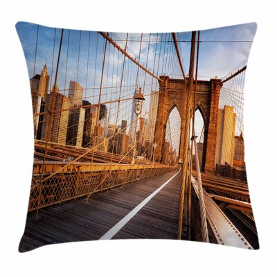 United States Brooklyn Bridge Square Pillow Cover Size: 16