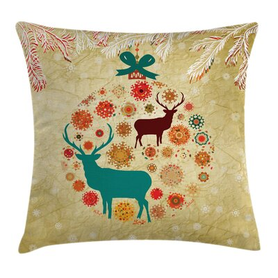 Christmas Reindeer Winter Square Pillow Cover Size: 18 x 18