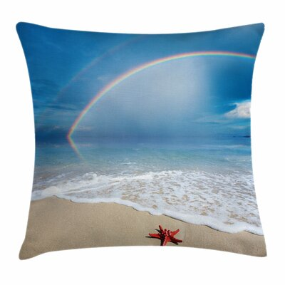 Starfish Decor Rainbow Ocean Square Pillow Cover Size: 18 x 18