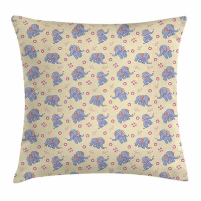 Elephant Cartoon Hearts Square Pillow Cover Size: 20 x 20