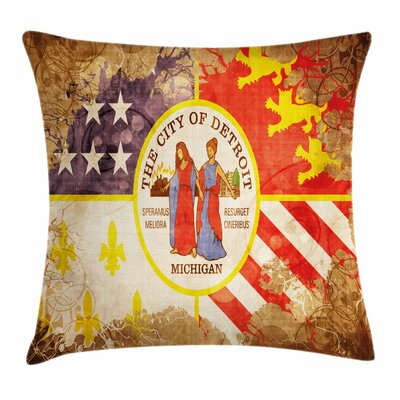 Detroit Decor Antique Old Flag Square Pillow Cover Size: 18 x 18